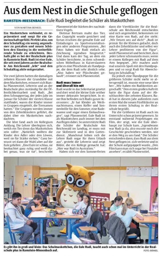 Vorschaubild der Meldung: Artikel in der Rheinpfalz 10.10.2019 Rudi vom Reichswald