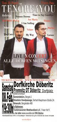 Foto zur Meldung: Tenöre4you - Konzert in der Dorfkirche Döberitz