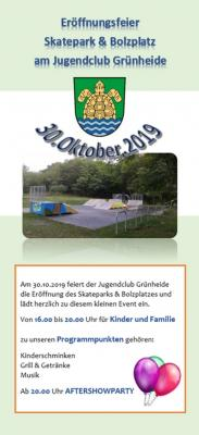 Flyer Eröffnungsfeier Skatepark