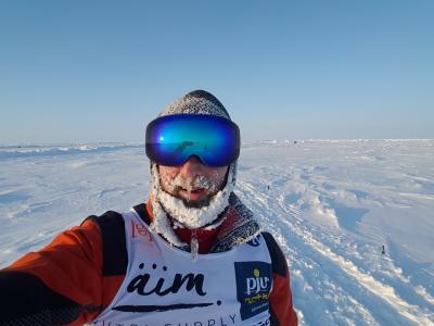 Robby Klemens beim Nordpolmarathon. Foto: Privat