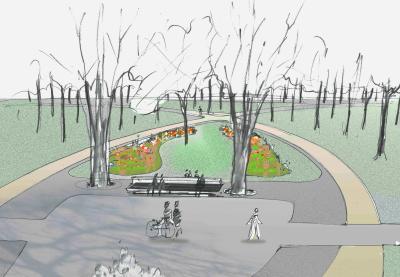 Konzeptzeichnung der Parkmitte I Illustration: Schrickel + Partner