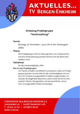 """Vorschaubild zur Meldung: Einladung Projektgruppe """"Vereinszeitung"""""""