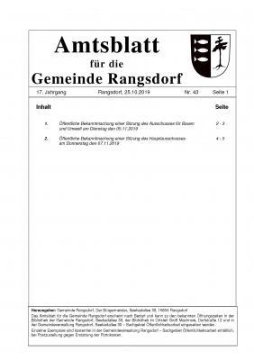 © Gemeinde Rangsdorf - Titelseite des Amtsblattes der Gemeinde Rangsdorf
