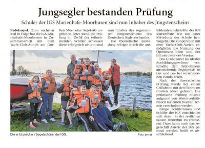Bericht aus den Ostfriesischen Nachrichten vom 5. Oktober 2019