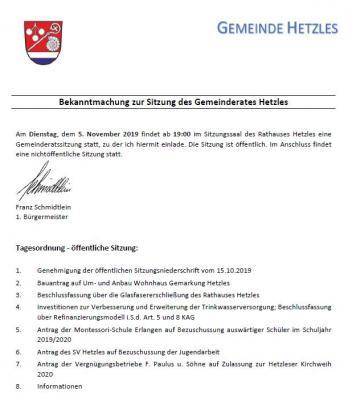 Vorschaubild zur Meldung: Gemeinderatssitzung in Hetzles am 05.11.2019