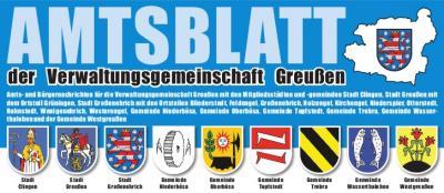 Vorschaubild zur Meldung: Amtsblatt der Verwaltungsgemeinschaft Greußen, Ausgabe 21/2019 veröffentlicht