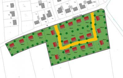 Bisherige Planungen sehen dise Anordnung der Grundstücke vor.