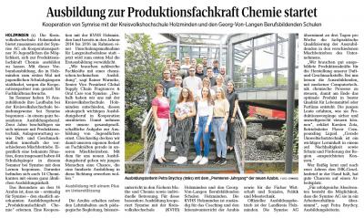 Ausbildung zur Produktionsfachkraft Chemie startet