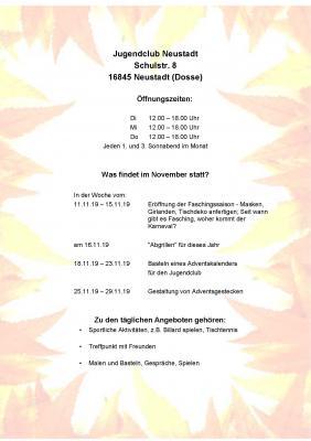 Vorschaubild zur Meldung: Veranstaltungen im November im Jugendclub Neustadt