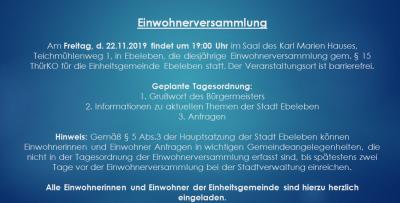 Vorschaubild zur Meldung: Einwohnerversammlung am 22.11.2019