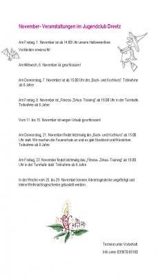 Vorschaubild zur Meldung: Veranstaltungen im November im Jugendclub Dreetz