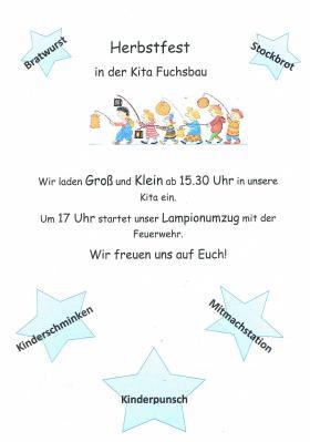 Plakat Herbstfest 2019 Kita Fuchsbau