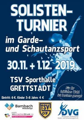 Vorschaubild zur Meldung: Solistenturnier im Garde und Schautanzsport 30.11. - 1.12.2019