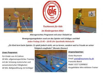 """Vorschaubild zur Meldung: Nicht nur für Tischtennisfreunde: Unser Angebot """"Tischtennis für Kinder im Kindergartenalter"""" ist für Alle ein riesen Spaß!"""