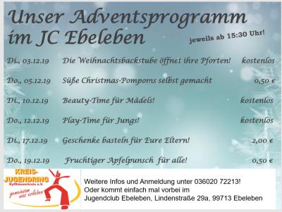 Vorschaubild zur Meldung: Programm im Jugendclub Dezember