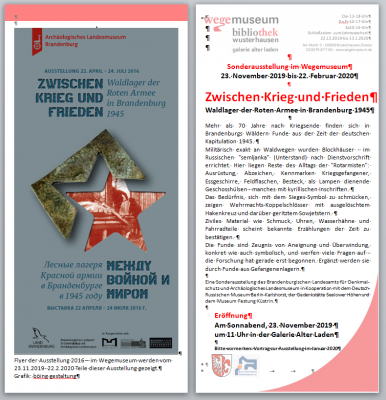 """Foto zur Meldung: Sonnabend 23.11. um 11 Uhr Eröffnung der Sonderausstellung """"Zwischen Krieg und Frieden"""" im Wegemuseum"""