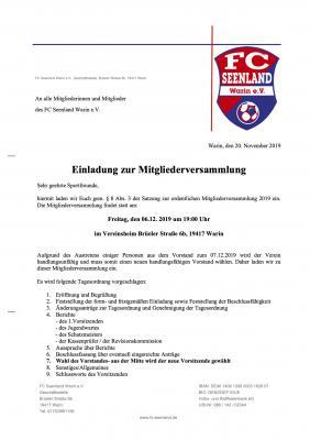 Einladung zur MV 06.12.2019