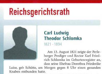 Foto zur Meldung: Erinnerunsgblättchen Nr. 67 für Carl Schlomka anlässlich des 125. Todestages