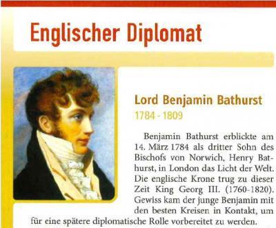 Bildausschnitt vom Erinnerungsblättchen von Lord benjamin Bathurst