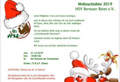 Weihnachtsfeier - HSV Bernauer Bären 🐻 - am 21.12.19