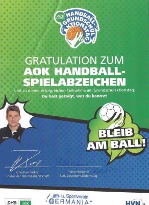 Vorschaubild zur Meldung: AOK Handballabzeichen