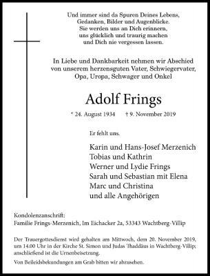 Traueranzeige Adolf Frings