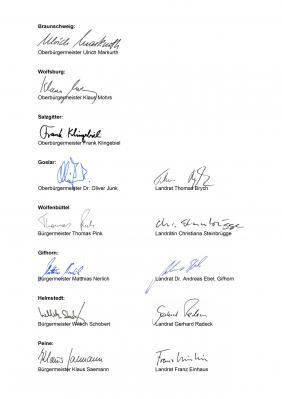 Unterschriften der Hauptverwaltungsbeamten (Quelle: Landkreis Helmstedt)