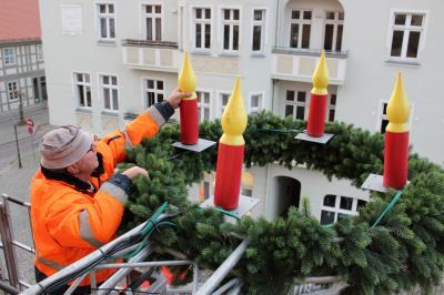Vorschaubild zur Meldung: Adventsleuchten auf dem Wittstocker Marktplatz