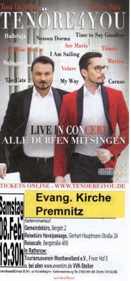 Vorschaubild zur Meldung: Tenöre4you - Konzert in der Evangelischen Kirche Premnitz