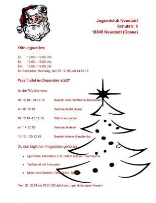 Vorschaubild zur Meldung: Veranstaltungen im Jugendclub Neustadt im Dezember