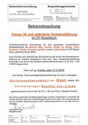 Foto zur Meldung: Tempo 30 und geänderte Verkehrsführung im OT Kieselbach ab 13.12.2019