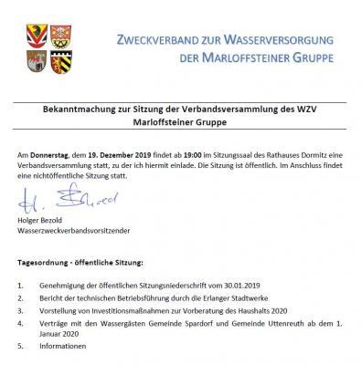 Vorschaubild zur Meldung: Sitzung der Verbandsversammlung des WZV Marloffsteiner Gruppe am 19.12.2019