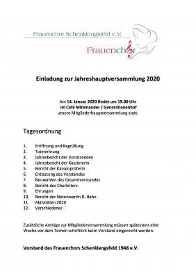 Vorschaubild zur Meldung: Einladung zur Jahreshauptversammlung am 14.01.2020