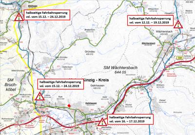 Foto zu Meldung: Verkehrliche Einschränkungen an verschiedenen Bundesstraßen im Bereich Büdingen / Gründau / Linsengericht / Wächtersbach