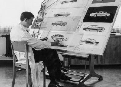 Paul Bracq am Zeichentisch in Sindelfingen