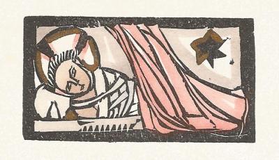 Gefatschtes (gewickeltes) Jesuskind mit Stern von Bethlehem. Kolorierter Holzschnitt von Ruth Schaumann. © Privatbesitz Döring, Alfter