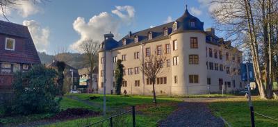 Schloss Wächtersbach, wie es sich den Besuchern von den Schlossweihern her zeigt