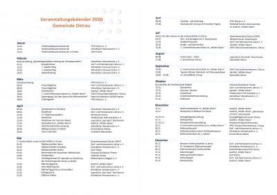 Foto zur Meldung: Veranstaltungskalender 2020 der Gemeinde Ostrau