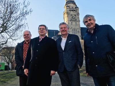 (von links) freuen sich auf das Jubiläumsjahr: Peter Jepsen, Dr. Oliver Hermann, Andreas Hahn und Karsten Korup I Foto: Martin Ferch