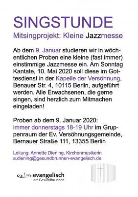 Vorschaubild zur Meldung: Neues Projekt der Singstunde - Kleine Jazzmesse