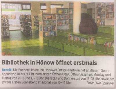Foto zur Meldung: Gemeinde Hoppegarten eröffnet neue Bibliothek