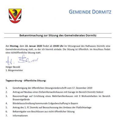 Vorschaubild zur Meldung: Sitzung des Gemeinderates Dormitz am 13.01.2020