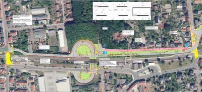 Die favorisierte Planungsvariante mit der Weiterführung der Umgehungsstraße entlang der Bahnlinie und Tunnelquerung