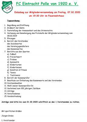 Vorschaubild zur Meldung: Mitgliederversammlung des FC Eintracht Polle von 1920 e. V.