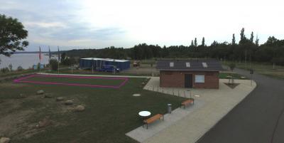 Drohnenfoto mit Flächenmarkierung Lieske Parkplatz 2020