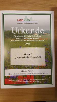 """Vorschaubild zur Meldung: Teilnahme  der Klasse 5 am Wettbewerb """" Landwirtschaft und ländlicher Raum"""""""
