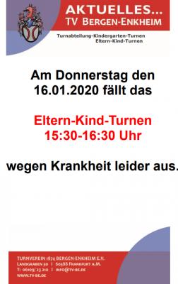 Vorschaubild zur Meldung: Eltern-Kind-Turnen von 15:30 Uhr bis 16:30 Uhr fällt am 16.01.2020 aus