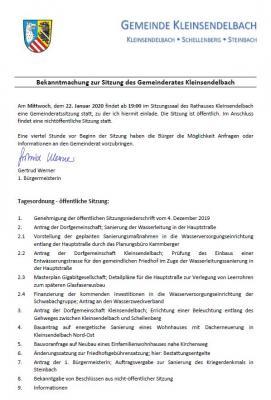 Foto zu Meldung: Sitzung des Gemeinderates Kleinsendelbach am 22.01.2020