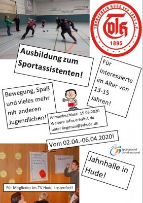 Vorschaubild zur Meldung: Jetzt anmelden: Sportassistentenausbildung in den Osterferien in Hude