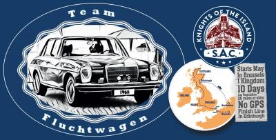 "Logo Team Fluchtwagen bei der ""Knights of the Island Rallye 2019"""